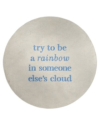 Handwritten Try To Be A Rainbow Quote Poly Chenille Rug East Urban Home Rug Size: Round 5'