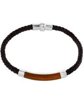 Effy Silver Men's Sterling Silver Tiger Eye and Braided Leather Bracelet