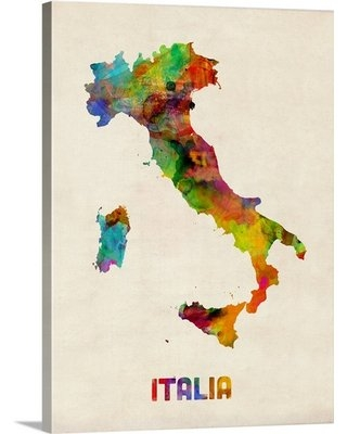 """'Italy Watercolor Map' by Michael Tompsett Graphic Art Print Trinx Format: Canvas, Size: 16"""" H x 12"""" W x 1.5"""" D"""