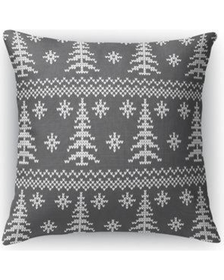 """Loon Peak Derik Stitched Evergreens Geometric Throw Pillow W000998613 Color: Charcoal Size: 16"""" x 16"""""""