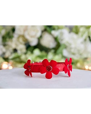 NEW! Luxury Fairy Flower Red Rhinestone Vegan Pet Collar for Dogs, Cats, and Pets by Enchanted-Pets. Sizes XS, S, M