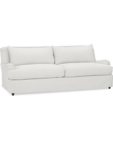 "Carlisle Slipcovered Grand Sofa 90.5"" with Bench Cushion, Polyester Wrapped Cushions, Performance Everydaylinen(TM) by Crypton(R) Home Ivory"