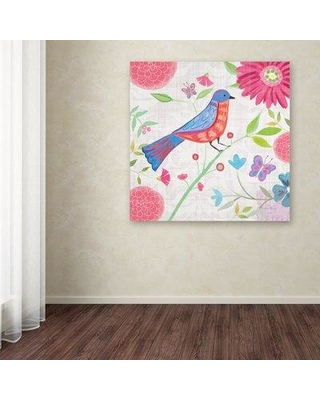 "Ebern Designs 'Damask Floral and Bird II v2' Print on Wrapped Canvas EBRN1775 Size: 24"" H x 24"" W"