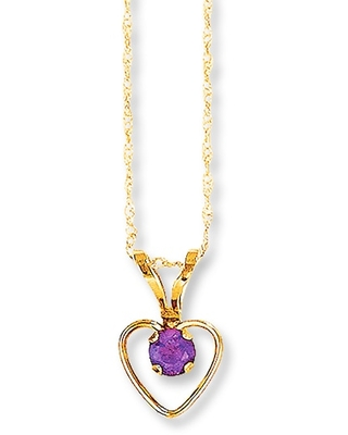 Jared The Galleria Of Jewelry Amethyst Heart Necklace 14K Yellow Gold