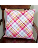 Artisan Pillows Notting Hill Plaid Tartan Indoor Cotton Throw Pillow ST-001AQ-01 / ST-001PK-01 Color: Pink