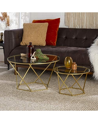 Walker Edison Furniture Modern Round Nesting Coffee Accent Table Living Room, Gold