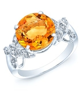 Estie G 14k White Gold Citrine and 1/3ct TDW Diamond Ring (H-I, SI1-SI2) (Size 7) (14K Withe Gold Ring,Citrine Stone,10 Side Diamonds)