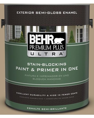 BEHR Premium Plus Ultra 1 gal. #MQ2-24 Golden Olive Semi-Gloss Enamel Exterior Paint and Primer in One
