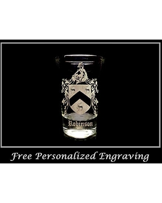 Robinson English Family Coat of Arms Shot Glass 1.5oz - Free Personalized Engraving and Free Shipping