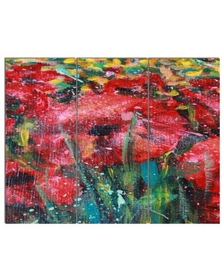 'Red Poppies Acrylic Drawing' 3 Piece Painting Print on Wrapped Canvas Set Design Art