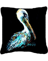 "Caroline's Treasures Dressed in Black Pelican Indoor/Outdoor Throw Pillow MW1164PW1414 / MW1164PW1818 Size: 18"" H x 18"" W x 5.5"" D"