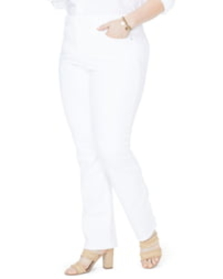 NYDJ Marilyn High Rise Stretch Straight Leg Jeans, Size 26W in Optic White at Nordstrom