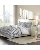 Intelligent Design Waterfall Comforter Set Twin/Twin Xl Size - Grey, Ruffles – 4 Piece Bed Sets – Ultra Soft Microfiber Teen Bedding For Girls Bedroom