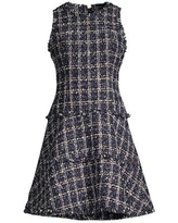 Multi Tweed Tiered A-line Dress - Blue - Likely Dresses