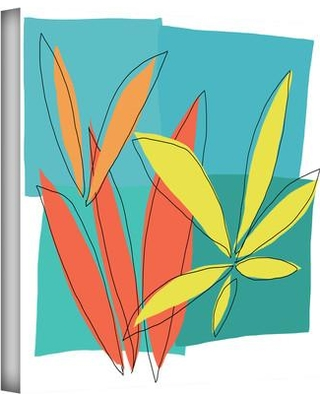 """ArtWall 'Grasses I' by Jan Weiss Print of Painting on Wrapped Canvas janw Size: 24"""" H x 24"""" W"""
