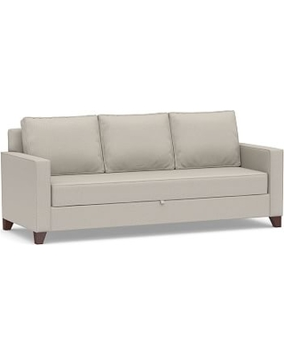Cameron Square Arm Upholstered Pull-Up Platform Sleeper Sofa, Polyester Wrapped Cushions, Performance Heathered Tweed Pebble
