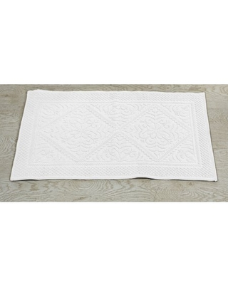 """Better Trends Provence Tufted Bath Mat Rug 100% Cotton, 21"""" x 34"""" Rectangle, White"""