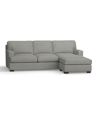 Townsend Square Arm Upholstered Sofa with Reversible Storage Chaise Sectional, Polyester Wrapped Cushions, Performance Everydaysuede(TM) Metal Gray