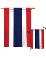 Amazing Deal On Breeze Decor 2 Piece Dominican Republic Of The World Nationality Impressions Decorative Vertical 2 Sided Polyester Flag Set In Red Blue Wayfair
