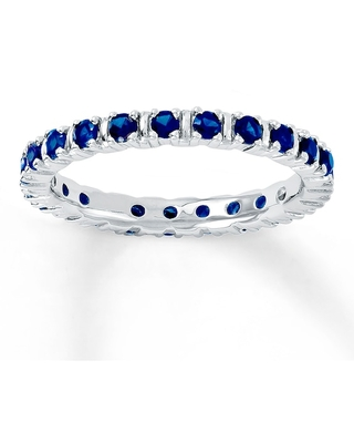 Jared The Galleria Of Jewelry Stackable Ring Lab-Created Sapphires Sterling Silver