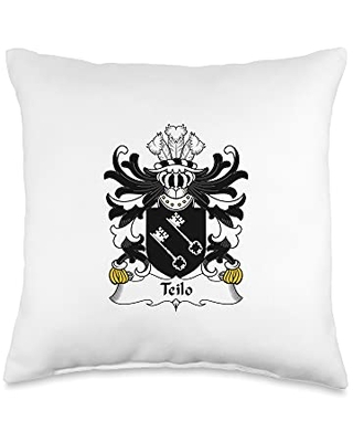 Family Crest and Coat of Arms clothes and gifts Teilo Coat of Arms - Family Crest Throw Pillow, 16x16, Multicolor