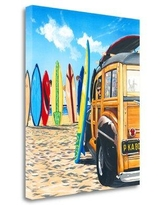 Tangletown Fine Art 'Beach Cruiser Kids' Print on Wrapped Canvas, Canvas & Fabric in Brown/Blue | Wayfair ICW632D-