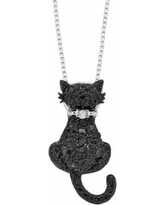 Sterling Silver 1/4-ct. T.W. Black and White Diamond Cat Pendant, Women's, Size: 18""