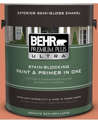 BEHR ULTRA 1 gal. #M180-5 King Salmon Semi-Gloss Enamel Exterior Paint and Primer in One