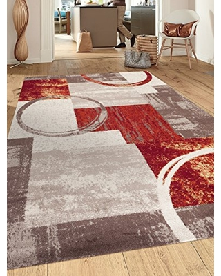 """Contemporary Abstract Circle Design Multi Soft 3'3"""" x 5' Indoor Area Rug"""