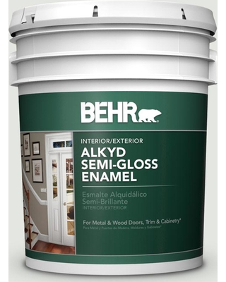 BEHR 5 gal. #BXC-89 Maritime White Urethane Alkyd Semi-Gloss Enamel Interior/Exterior Paint
