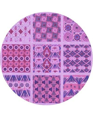 Remarkable Deals On East Urban Home Patchwork Wool Purple Area Rug X113642928 Rug Size Round 4