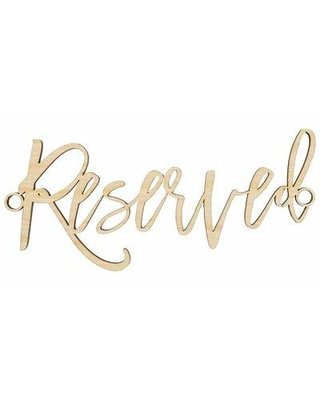 "Koyal Wholesale Reserved Reception Signs, Wood in Beige, Size 10""W X 8""D 