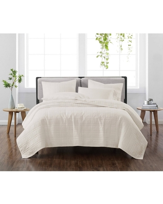 Full/Queen 3pc Solid Quilt Set Ivory - Cannon Heritage