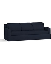"York Square Arm Slipcovered Deep Seat Grand Sofa 94"" with Bench Cushion, Down Blend Wrapped Cushions, Performance Twill Cadet Navy"