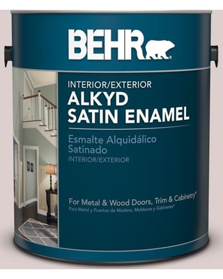 BEHR 1 gal. #N130-1 Pearls and Lace Urethane Alkyd Satin Enamel Interior/Exterior Paint