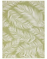 Unique Loom Outdoor Palm Rug, Green, 4Ft Rnd