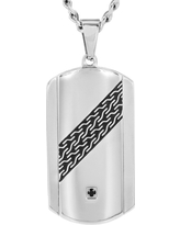 Crucible Men's Stainless Steel Cable Design and Cubic Zirconia Dog Tag Necklace - Black, Silver/Black
