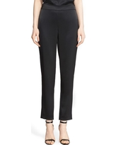 St. John Collection Emma Satin Ankle Pants, Size 4 in Caviar at Nordstrom