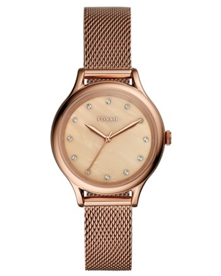Fossil Laney Three-Hand Rose Gold-Tone Stainless Steel Watch Jewelry - BQ3392