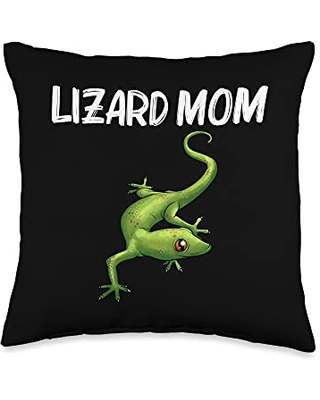 Best Lizard Anole Iguana Chameleon Pet Accessories Cool Lizard Gift For Mom Mother Gecko Green Reptile Animal Throw Pillow, 16x16, Multicolor