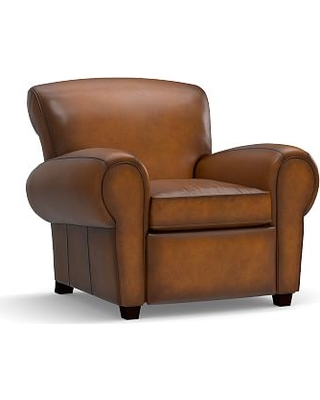 Manhattan Upholstered Leather Recliner, Polyester Wrapped Cushions, Burnished Bourbon