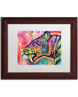 """Trademark Art 'Saber Tooth' by Dean Russo Framed Graphic Art ALI5037-W1 Matte Color: White Size: 16"""" H x 20"""" W x 0.5"""" D"""