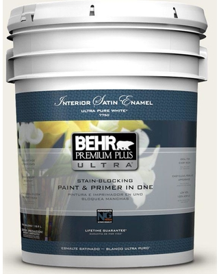 BEHR ULTRA 5 gal. #PPU10-13 Snowy Pine Satin Enamel Interior Paint and Primer in One