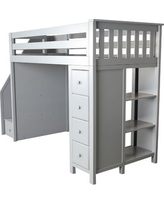 Ayres Twin Wood Loft Bed with Staircase Color: Grey