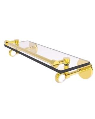 Allied Brass Clearview Collection Gallery Rail Glass Shelf with Twisted Accents (Polished Brass - 16 Inch)