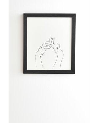 East Urban Home 'The Color Study Hands Line Drawing Abi' - Picture Frame Drawing Print on Paper