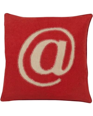 """17 Stories Griffith Linen Text Throw Pillow STSS1948 Size: 22"""" H x 22"""" W x 4"""" D Color: Red Filler: Polyester"""
