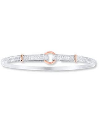 Circle Bangle Sterling Silver 14K Rose Gold Accents