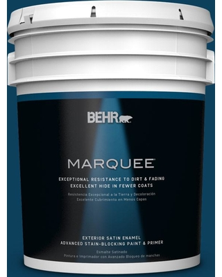 BEHR MARQUEE 5 gal. #ecc-53-3 Outer Space Satin Enamel Exterior Paint and Primer in One