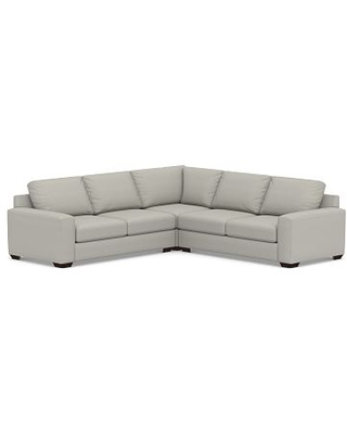 Big Sur Square Arm Upholstered 3-Piece L-Shaped Corner Sectional, Down Blend Wrapped Cushions, Performance Boucle Pebble
